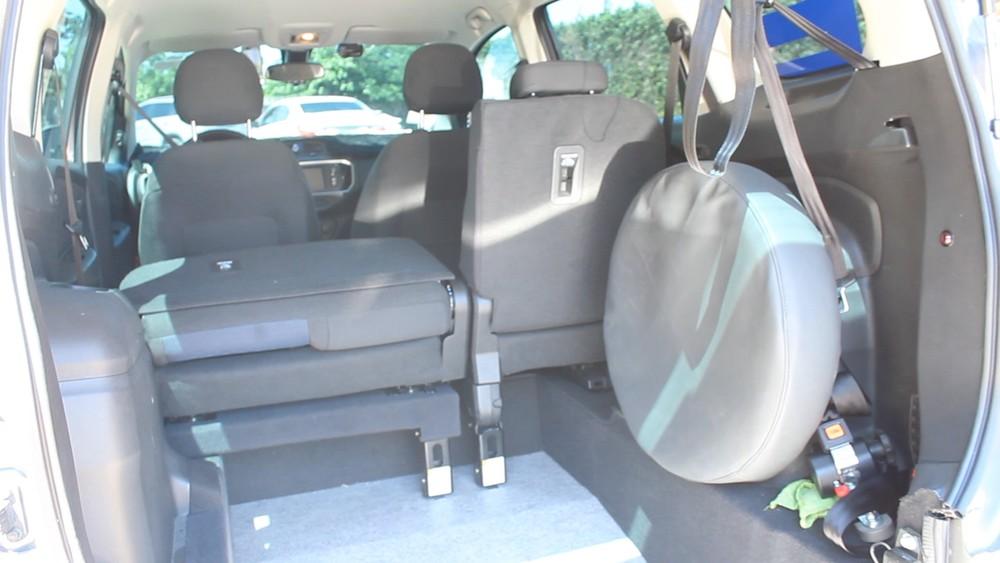 Interior do carro adaptado