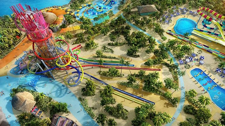 Foto panorâmica da ilha com todas as atrações