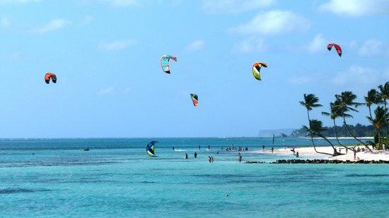 Praia com vários turistas praticando kitesurfing
