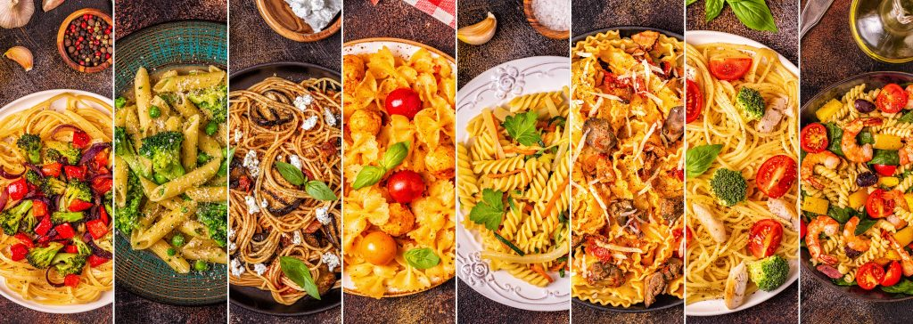 Várias opções de pratos de massas