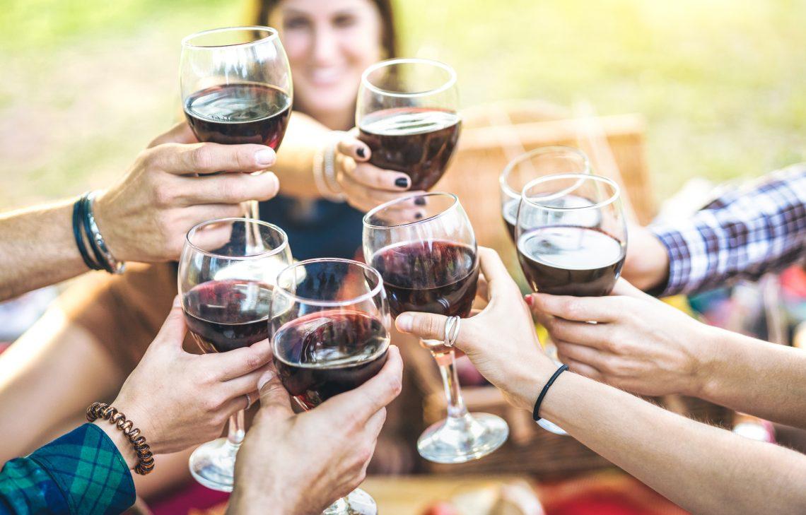 Várias pessoas brindando com taça de vinho